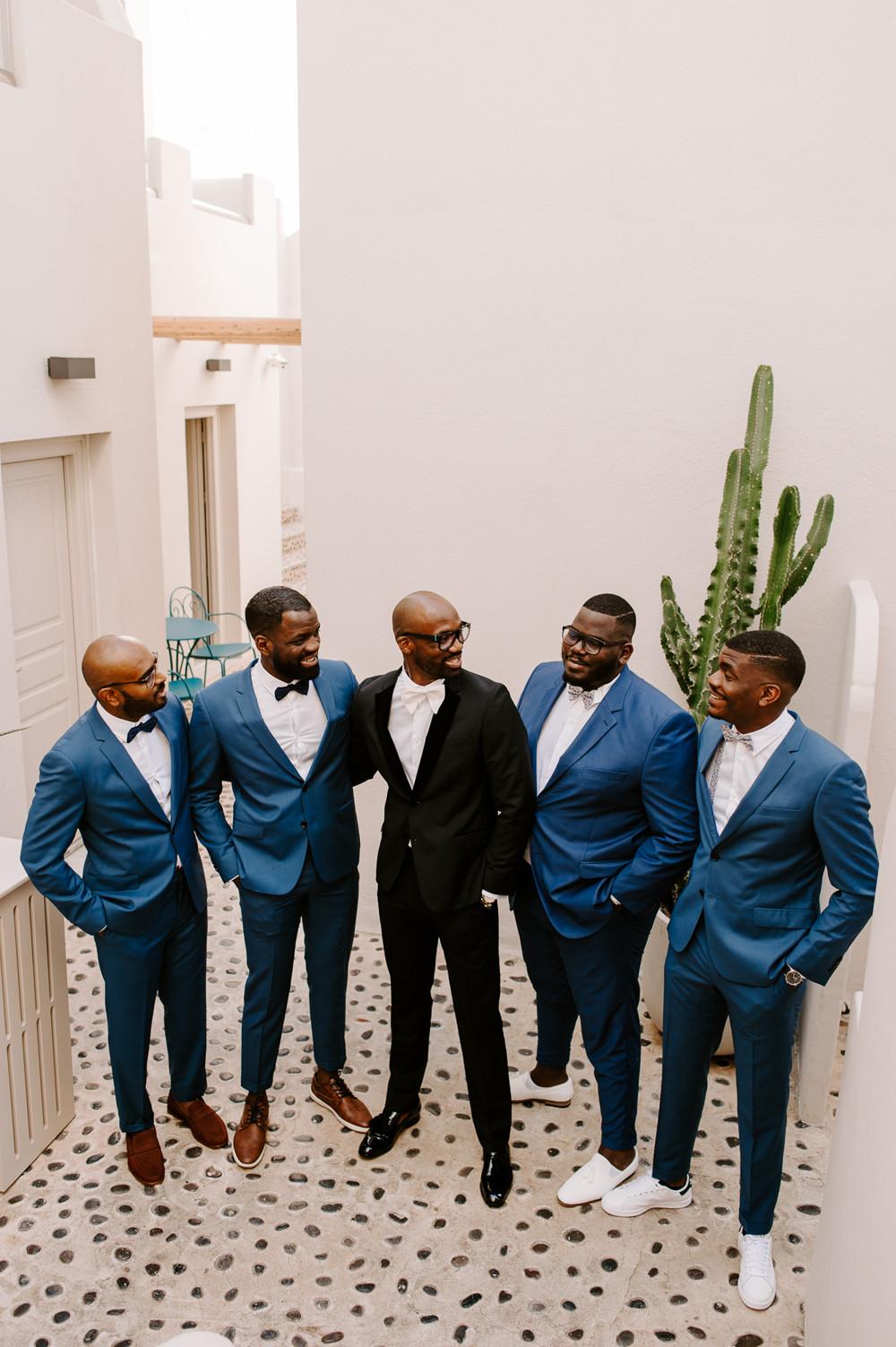 Groom Groomsmen Black Suit Tux Tuxedo Bow Tie Santorini Wedding Phosart Photography