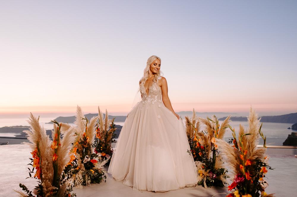 Aisle Ceremony Flowers Pampas Grass Bride Bridal Dress Gown Muse by Berta Lace Tulle Veil Santorini Wedding Phosart Photography