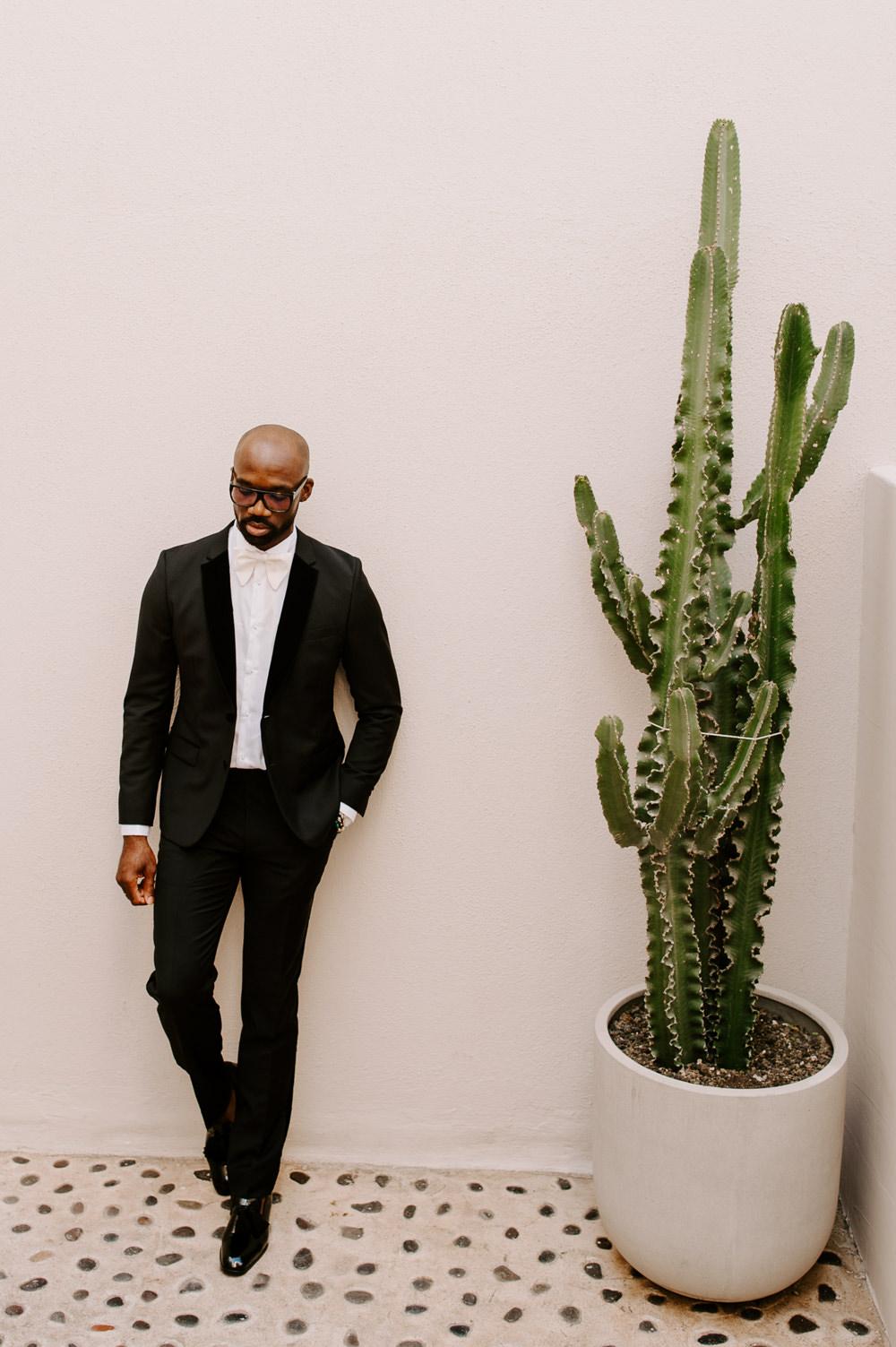 Groom Black Suit Tux Tuxedo Bow Tie Santorini Wedding Phosart Photography