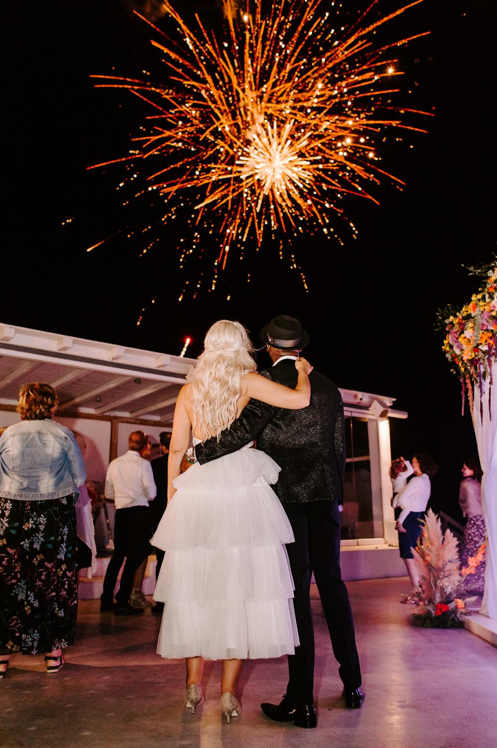 Fireworks Santorini Wedding Phosart Photography