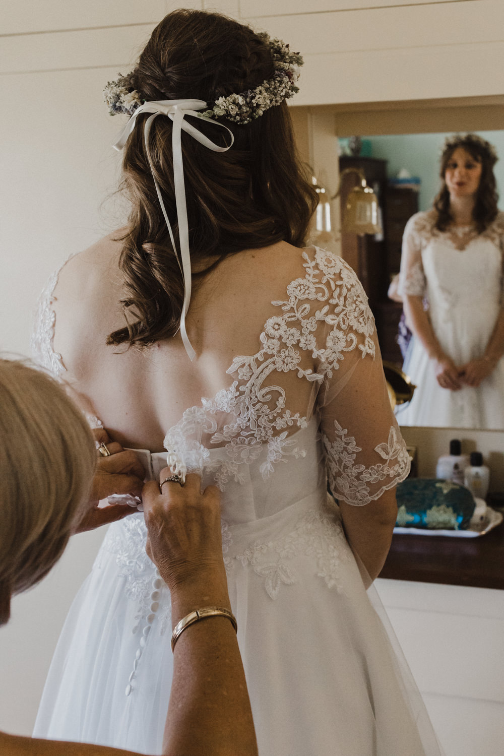 Dress Gown Bride Bridal Lace Short Sleeves Low Back Flower Crown Seaside Wedding Oli and Steph Photography