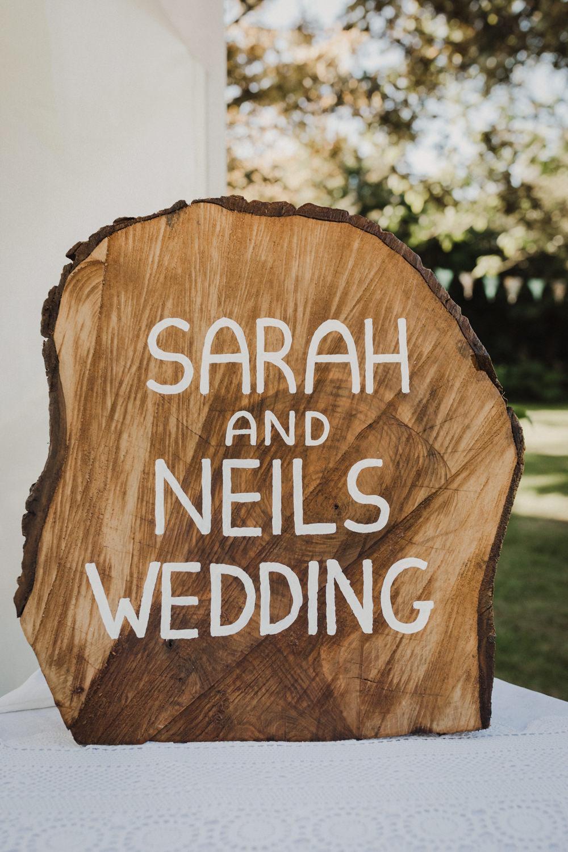 Log Slice Sign Signs Signage Seaside Wedding Oli and Steph Photography