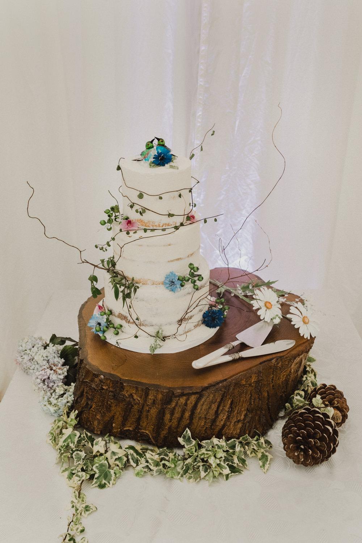 Buttercream Cake Log Slice Cake Stand Seaside Wedding Oli and Steph Photography