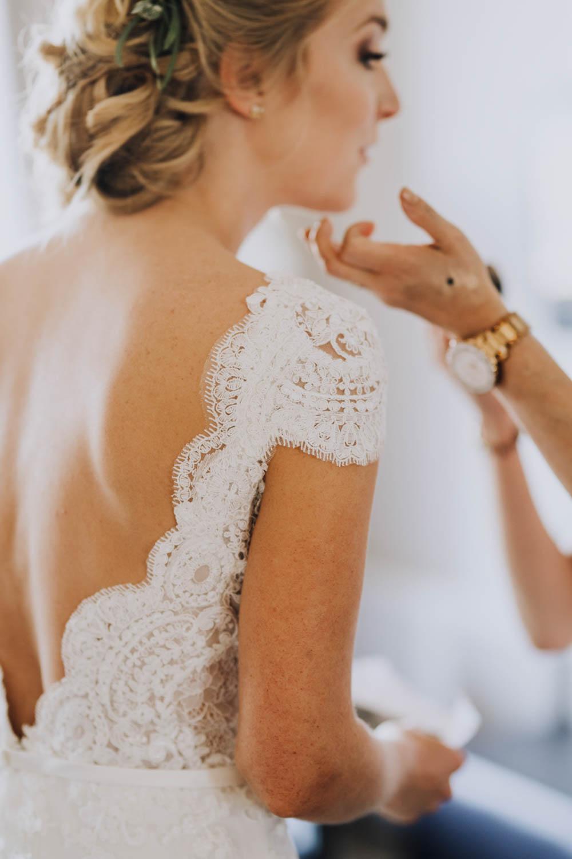 Dress Gown Bride Bridal Lace Cap Sleeves Low Back Sweden Destination Wedding Clara Cooper Photography