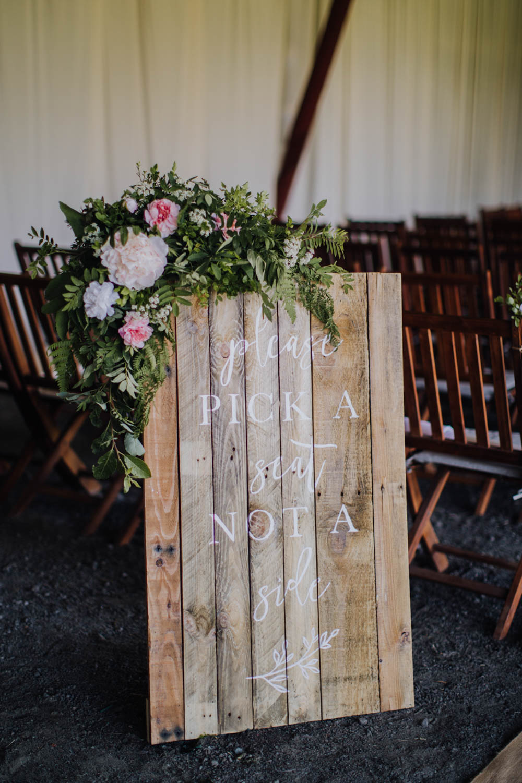 Sign Signs Signage Ceremony Wooden Sweden Destination Wedding Clara Cooper Photography