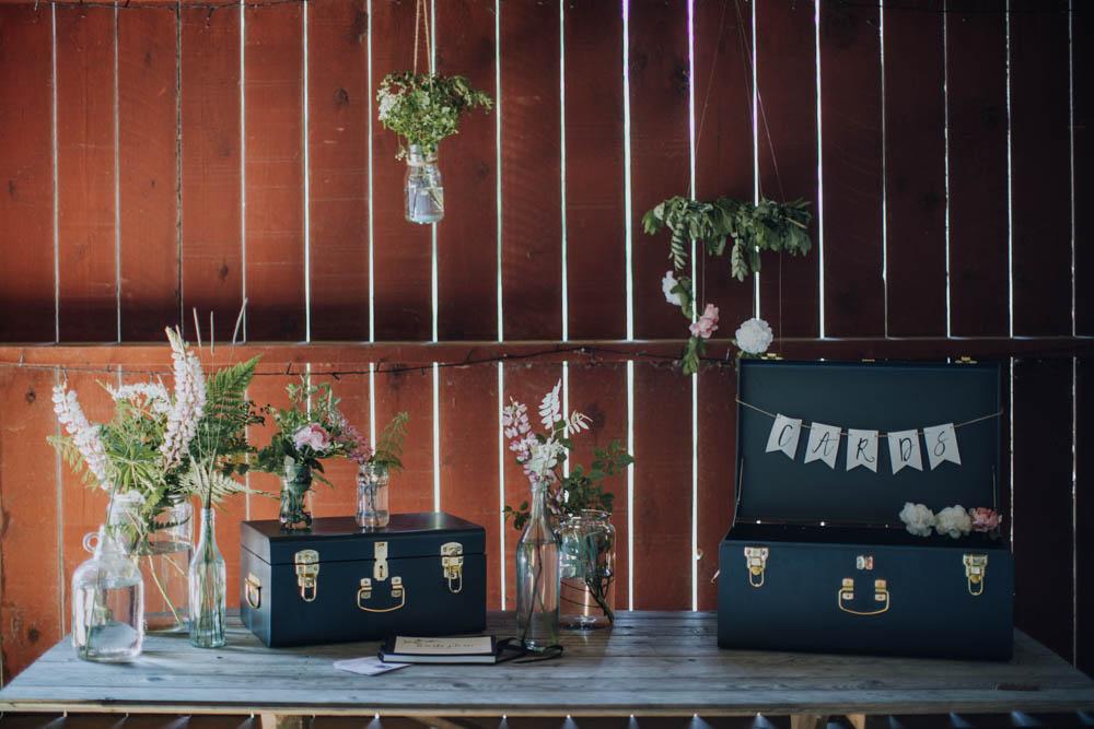 Card Suitcase Table Flowers Sweden Destination Wedding Clara Cooper Photography