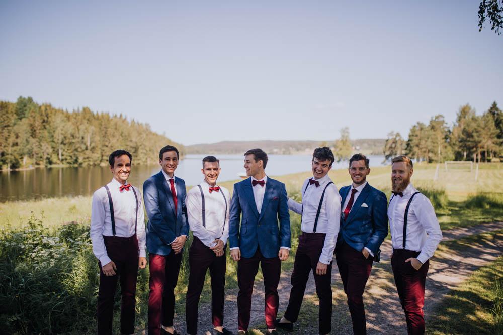 Groom Groomsmen Suit Blue Bow Tie Braces Sweden Destination Wedding Clara Cooper Photography