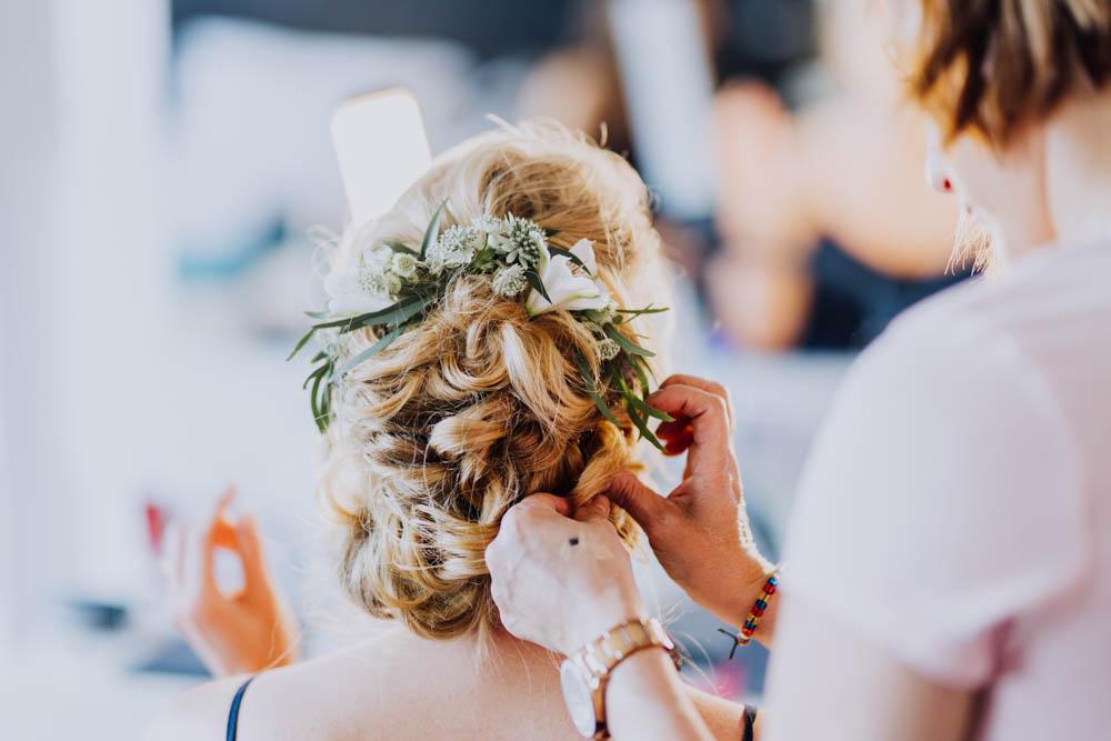 Bride Bridal Hair Style Up Do Flowers Sweden Destination Wedding Clara Cooper Photography