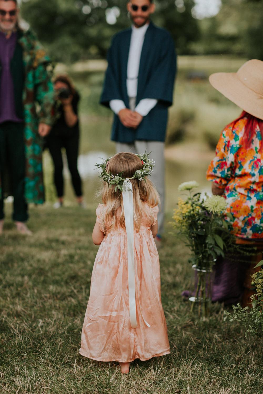 Flower Girl Dress Flower Crown Wootton Farm Estate Wedding Kate Gray Photography