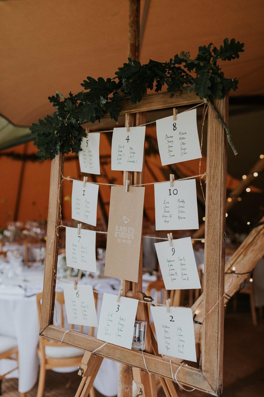 Table Plan Seating Chart Greenery Frame Pegs Wootton Farm Estate Wedding Kate Gray Photography
