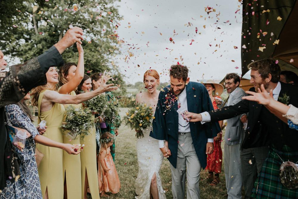 Confetti Throw Wootton Farm Estate Wedding Kate Gray Photography