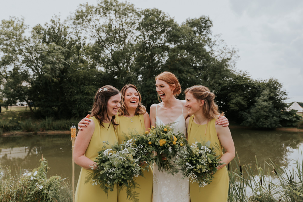 Bridesmaids Bridesmaid Dress Dresses Yellow Wootton Farm Estate Wedding Kate Gray Photography