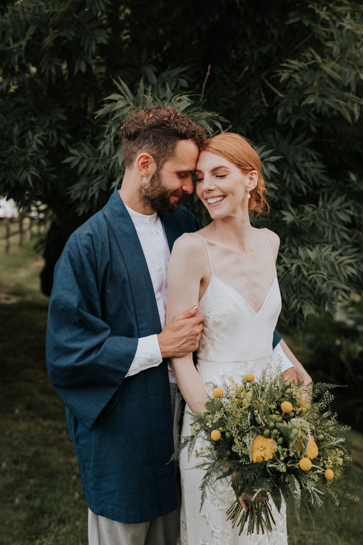 Groom Suit Kimono Collarless Shirt Wootton Farm Estate Wedding Kate Gray Photography