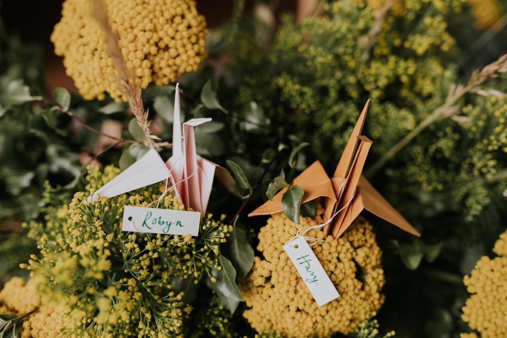 Origami Paper Crane Place Name Wootton Farm Estate Wedding Kate Gray Photography