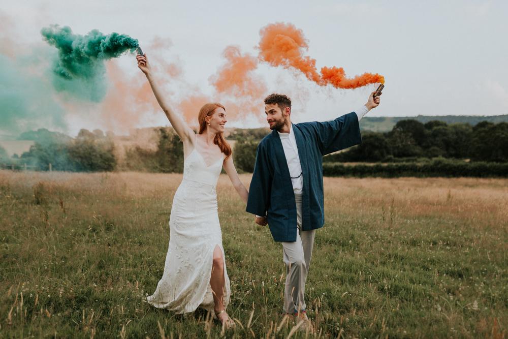 Wootton Farm Estate Wedding Kate Gray Photography Smoke Bomb Portrait Photo