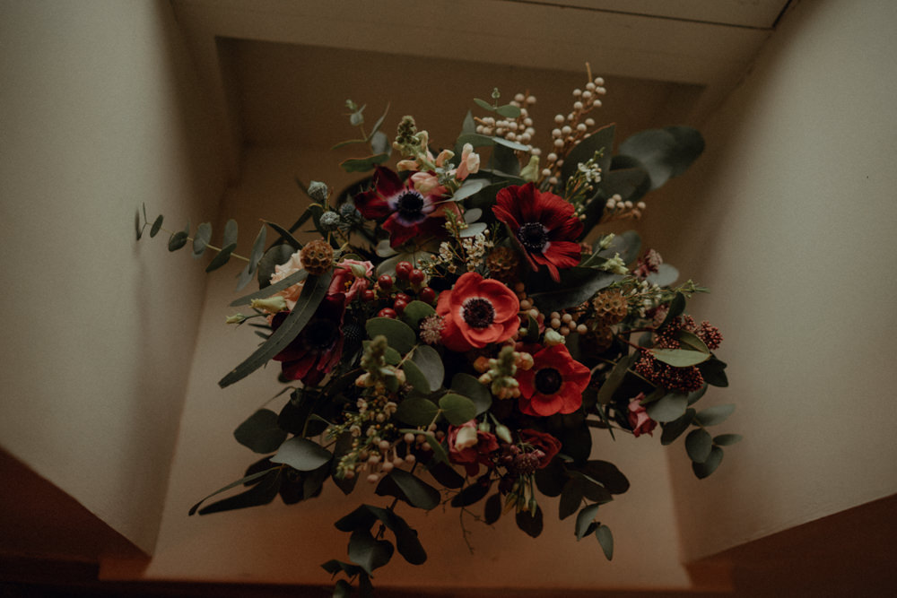 Bouquet Flowers Bride Bridal Red Burgundy Anemone Thistle Eucalyptus Ashes Barns Wedding Belle Art Photography