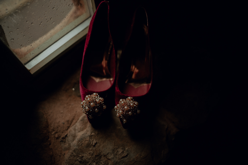 Bride Bridal Shoes Red Ashes Barns Wedding Belle Art Photography