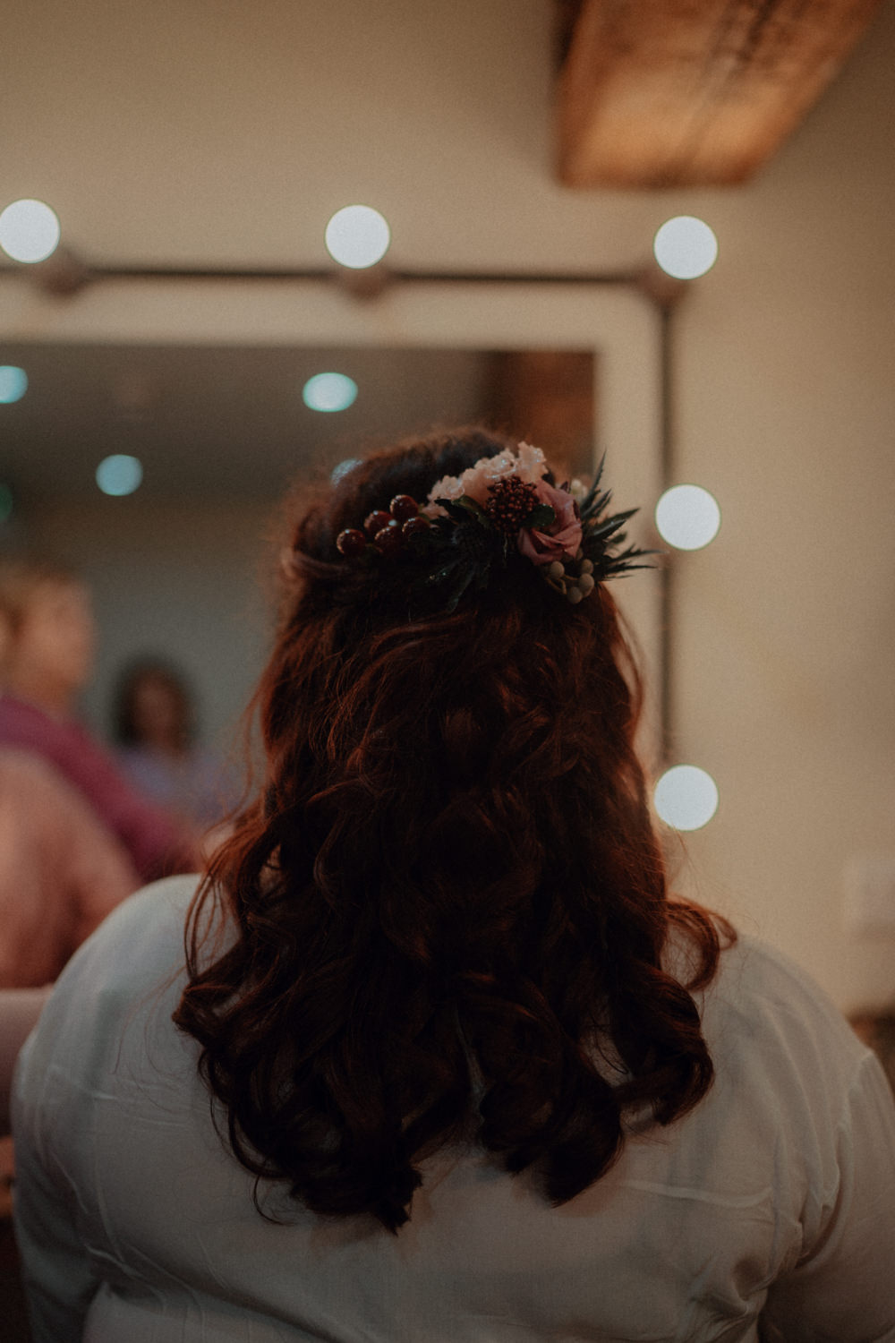Bride Bridal Hair Half Up Half Down Style Ashes Barns Wedding Belle Art Photography