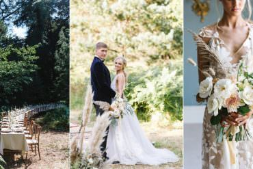Wild Romance Woodland Wedding Ideas with a Round Ceremony & Curved Reception