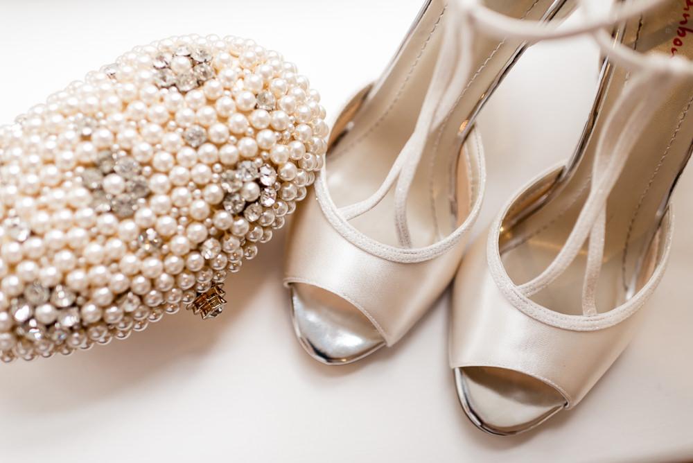 Bride Bridal Shoes Bag Bonhams Barn Wedding Will Patrick Photography