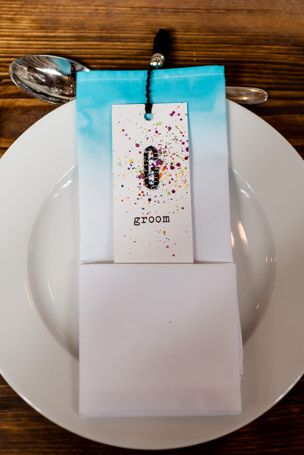 Tie Die Ombre Napkin Place Setting Name Card Bonhams Barn Wedding Will Patrick Photography