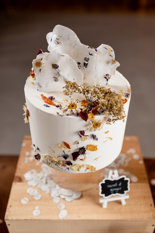 Dried Flowers Cake Iced Bonhams Barn Wedding Will Patrick Photography