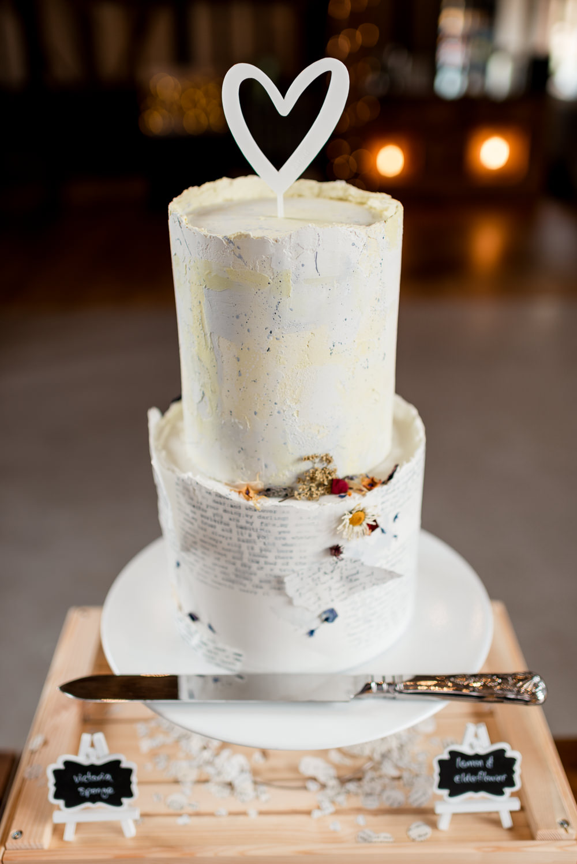 Literary Book Cake Dried Flowers Heart Topper Bonhams Barn Wedding Will Patrick Photography