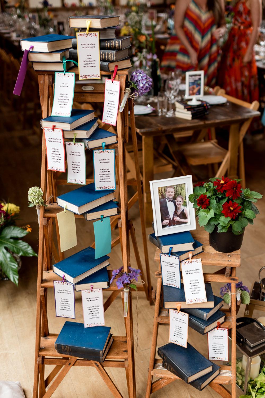 Table Plan Ladder Decor Books Literary Bonhams Barn Wedding Will Patrick Photography