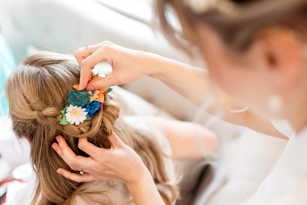 Bride Bridal Hair Style Flower Comb Bonhams Barn Wedding Will Patrick Photography