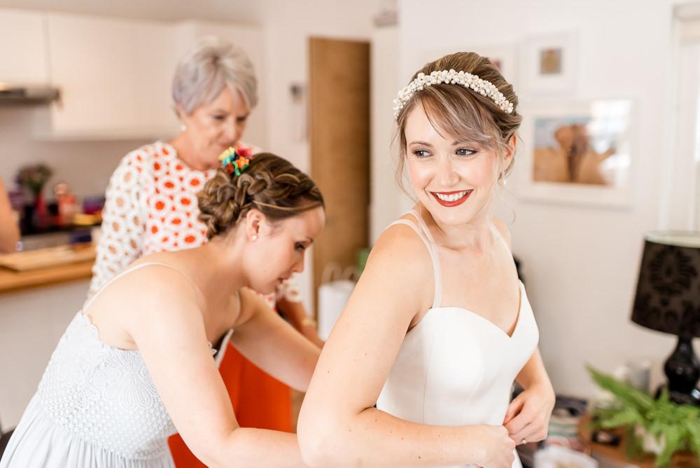 Bride Bridal Dress Gown A Line Sassi Holford Bonhams Barn Wedding Will Patrick Photography