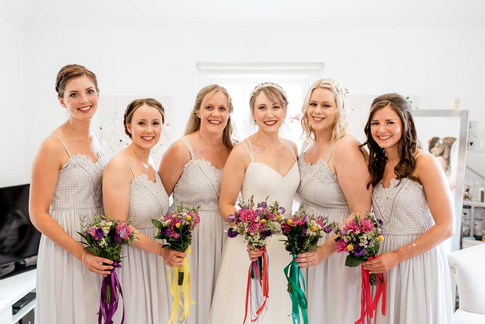 Bridesmaids Bridesmaid Dress Dresses Bouquets Ribbons Colourful Rainbow Bonhams Barn Wedding Will Patrick Photography