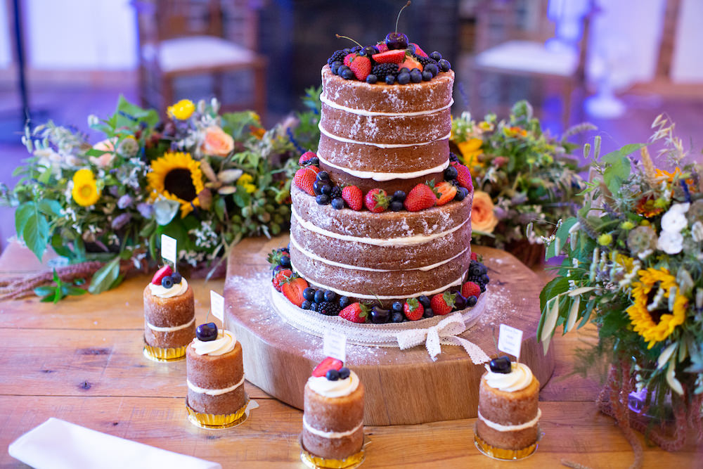 Naked Cake Berries Burley Manor Wedding Becky Bailey Photographer
