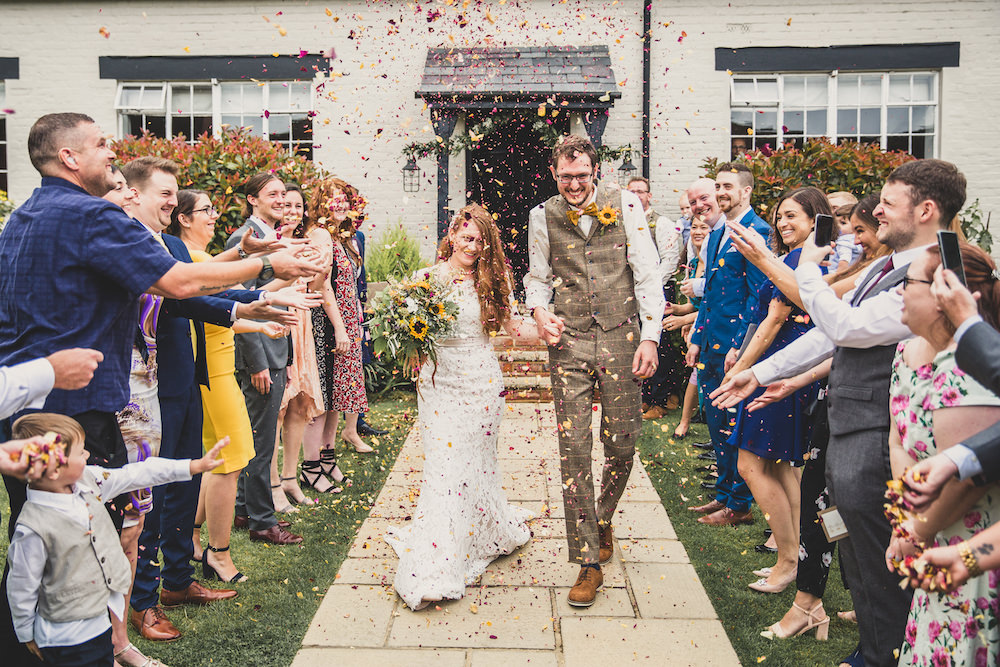 Confetti Throw Burley Manor Wedding Becky Bailey Photographer