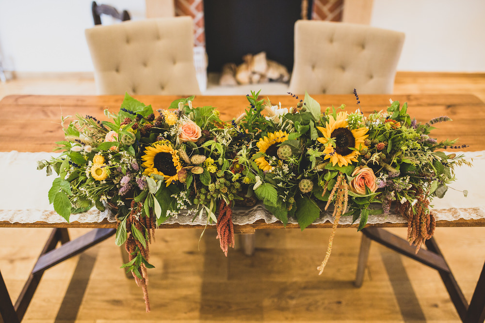 Ceremony Flowers Table Sunflowers Burley Manor Wedding Becky Bailey Photographer