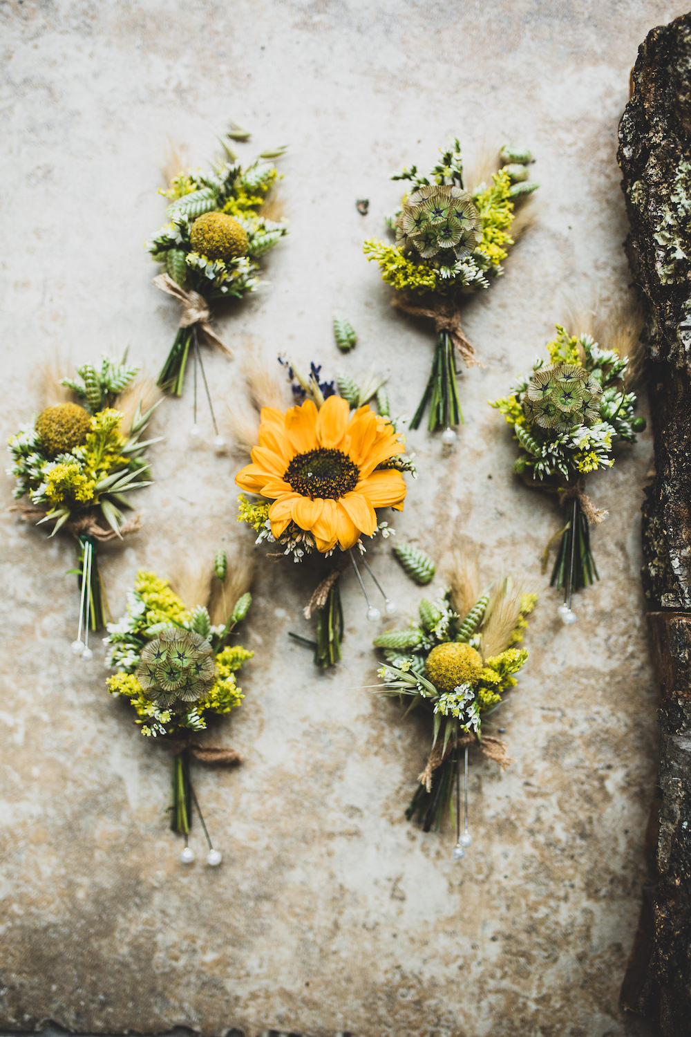 Sunflower Buttonhole Flowers Burley Manor Wedding Becky Bailey Photographer