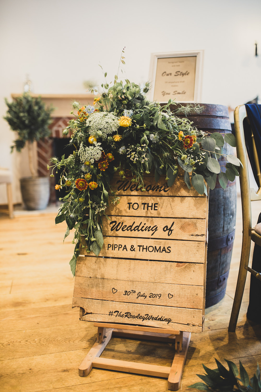 Wooden Sign Flowers Sunflowers Signs Signage Burley Manor Wedding Becky Bailey Photographer