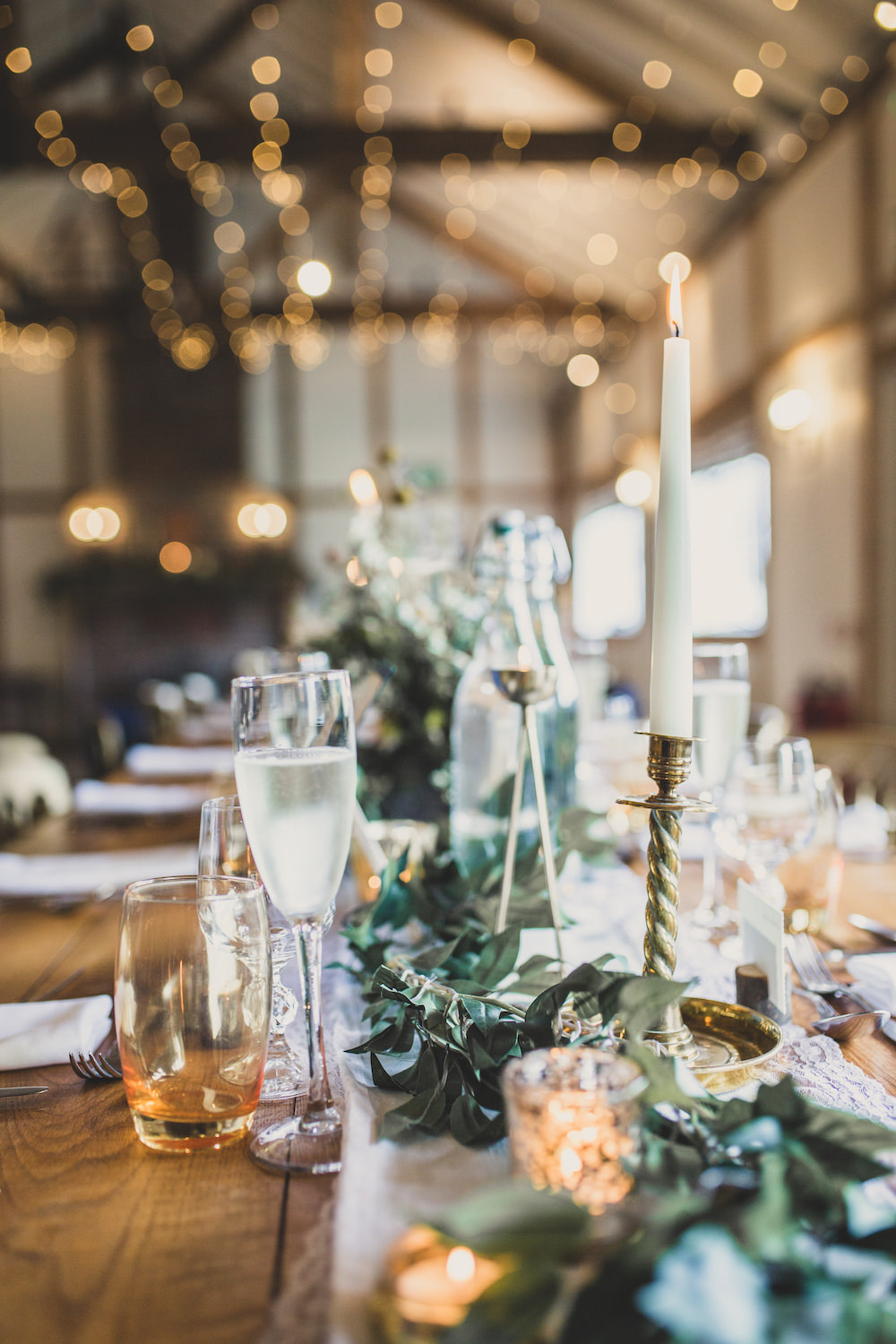 Table Decor Flowers Greenery Candles Burley Manor Wedding Becky Bailey Photographer