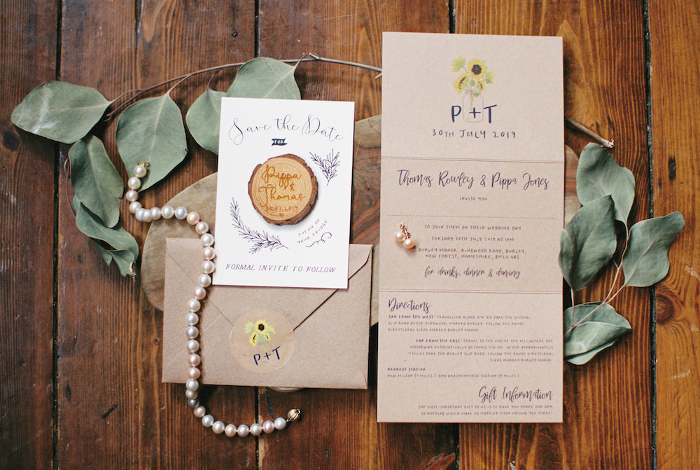 Save The Date Stationery Invite Invitation Log Slice Burley Manor Wedding Becky Bailey Photographer