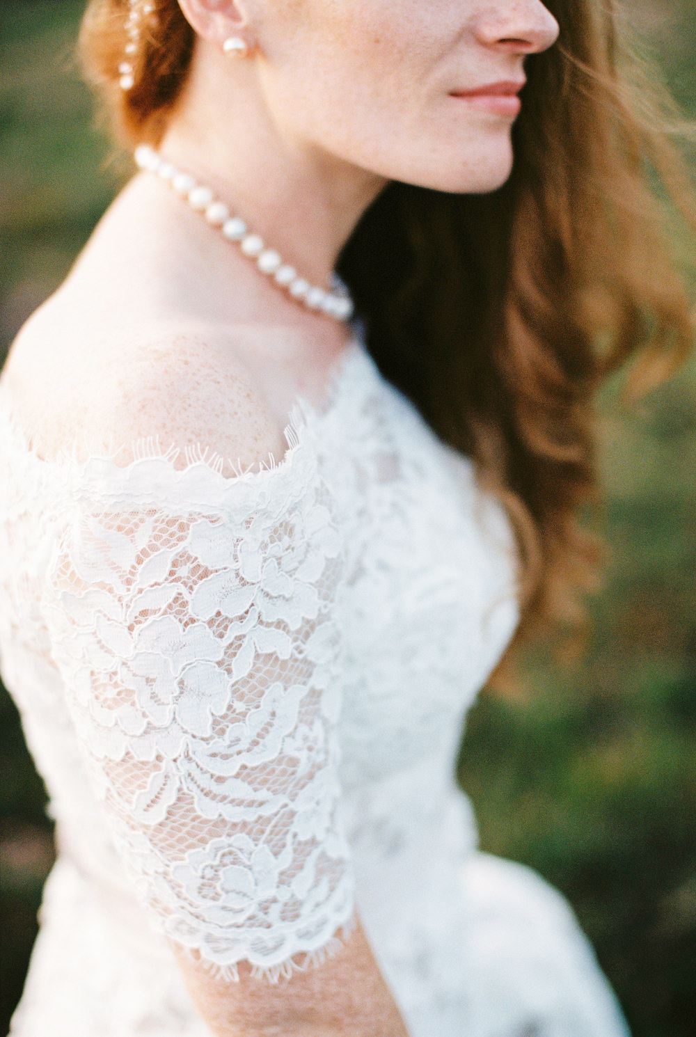 Dress Gown Bride Bridal White Rose Lace Fit Flare Off Shoulder Bardot Pearl Necklace Burley Manor Wedding Becky Bailey Photographer