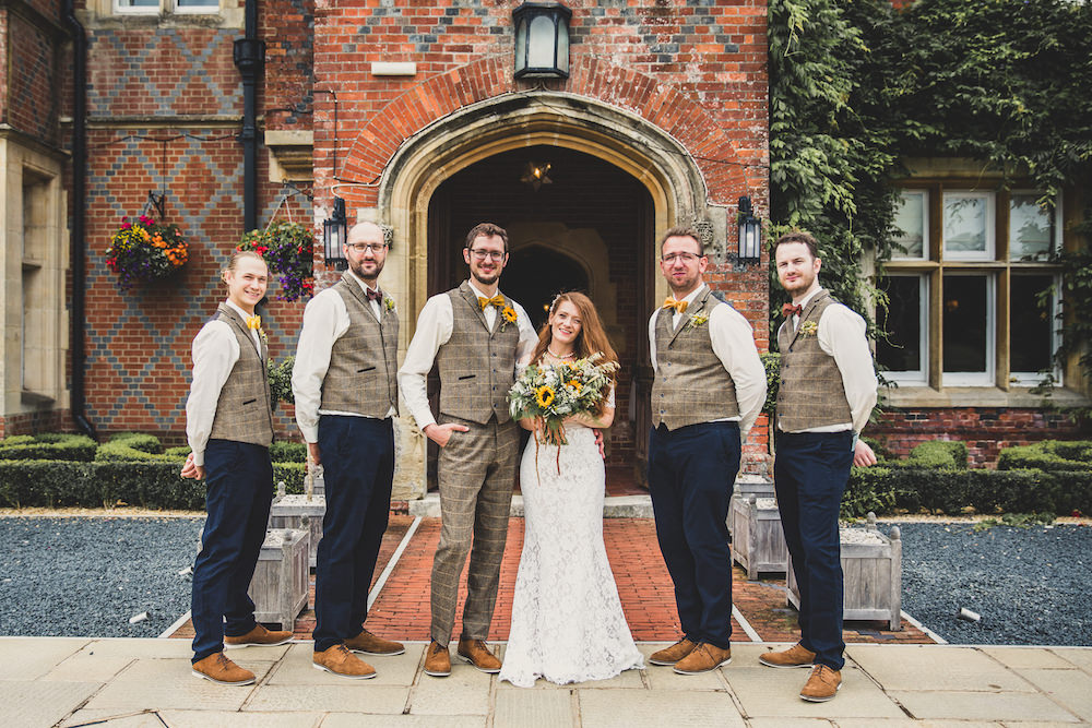 Groom Tweed Waistcoat Yellow Bow Tie Sunflowers Buttonhole Groomsmen Burley Manor Wedding Becky Bailey Photographer