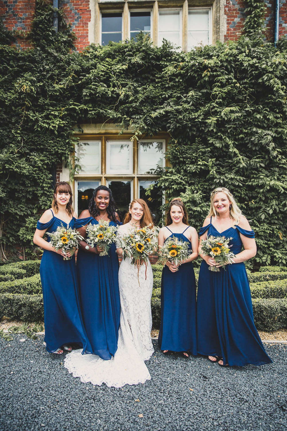 Bridesmaids Bridesmaid Dress Dresses Blue Sunflower Bouquets Burley Manor Wedding Becky Bailey Photographer