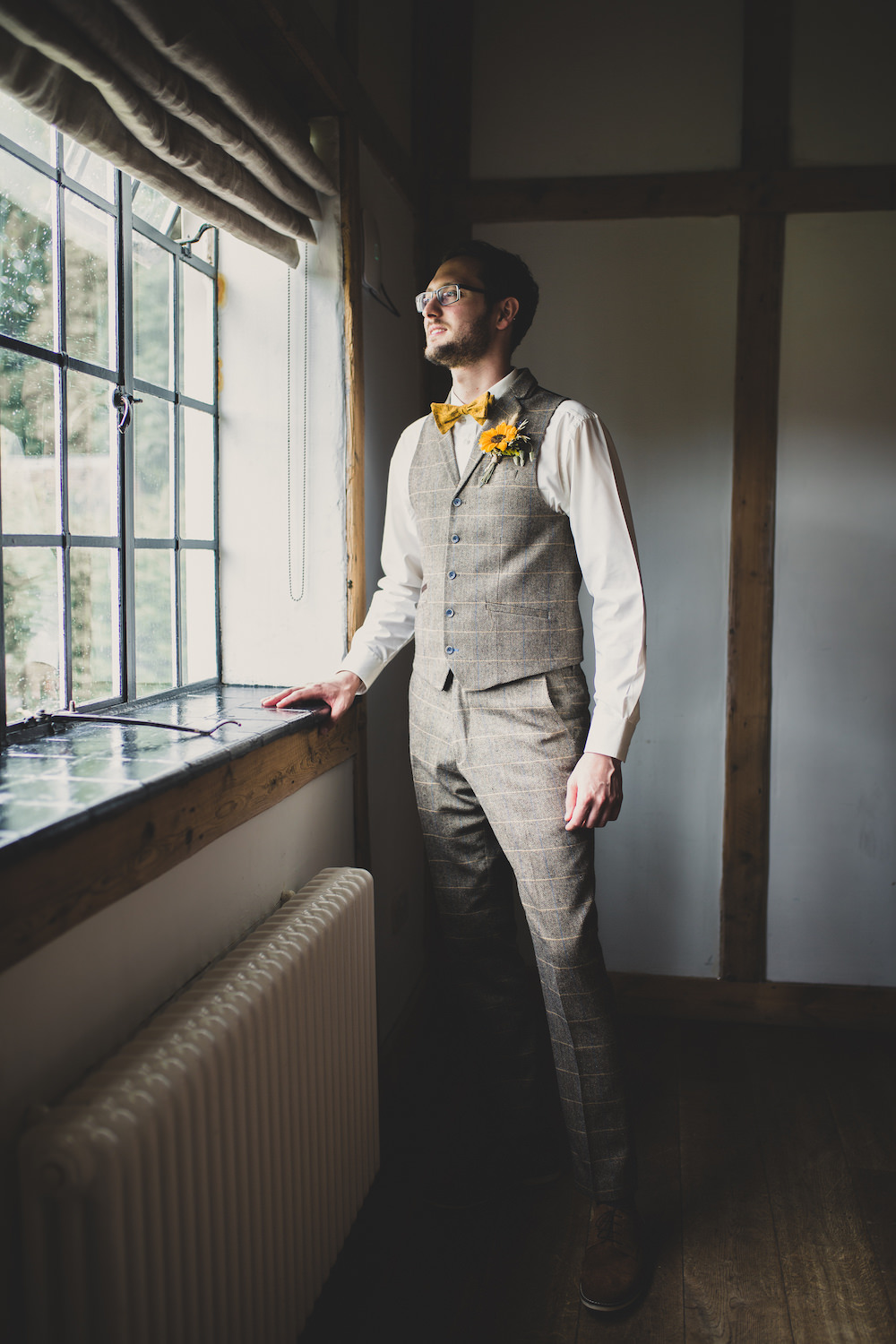 Groom Tweed Waistcoat Yellow Bow Tie Sunflowers Buttonhole Burley Manor Wedding Becky Bailey Photographer