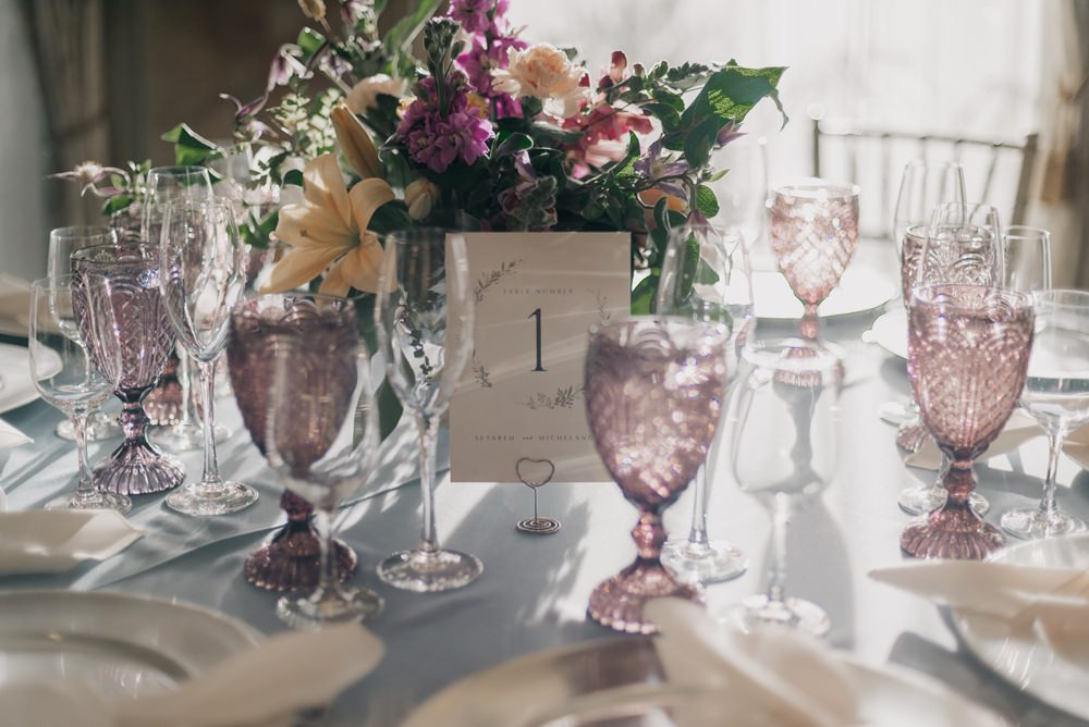 Table Decor Blue Cloths Flowers Fairy Lights California Wedding Wanderlust Creatives