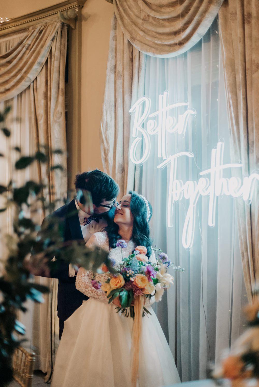 Neon Sign Backdrop Top Table California Wedding Wanderlust Creatives
