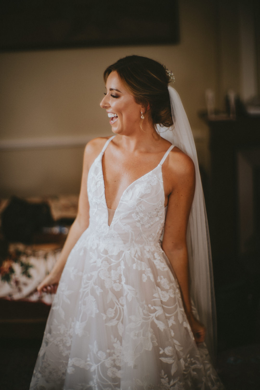 Fleur de Lis Blush by Hayley Paige Dress Gown Bride Bridal Lace Straps Veil Chateau Lagorce Wedding Flawless Photography