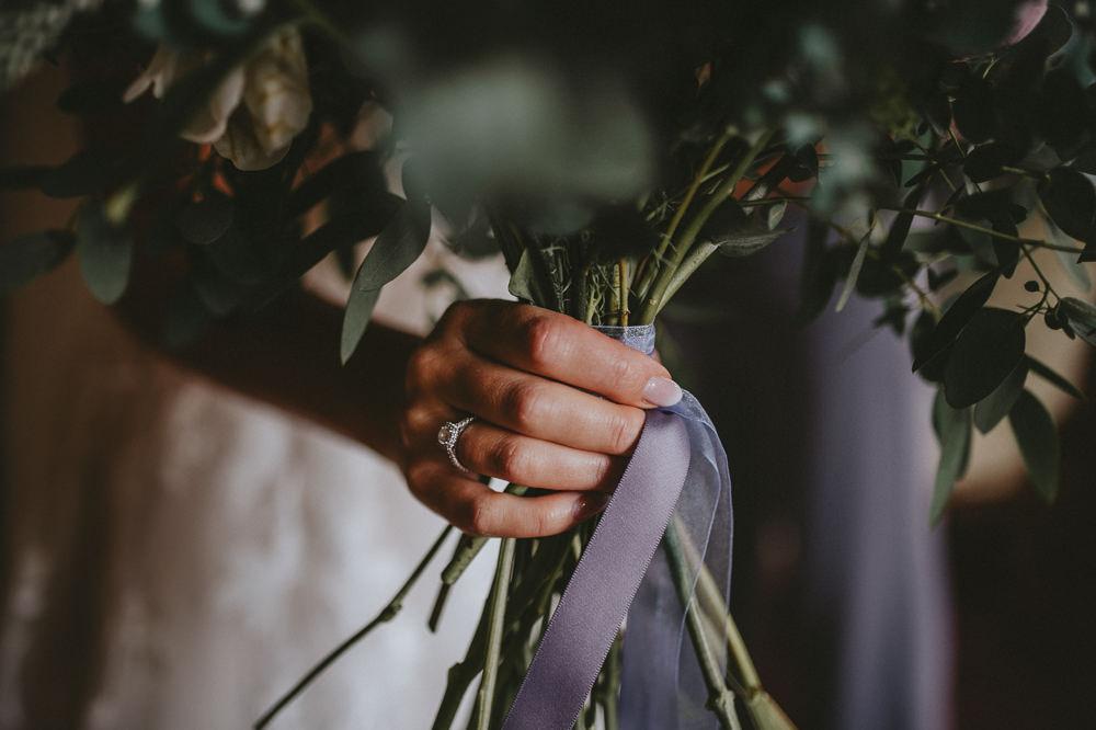 Bride Bridal Bouquet Ribbon Chateau Lagorce Wedding Flawless Photography