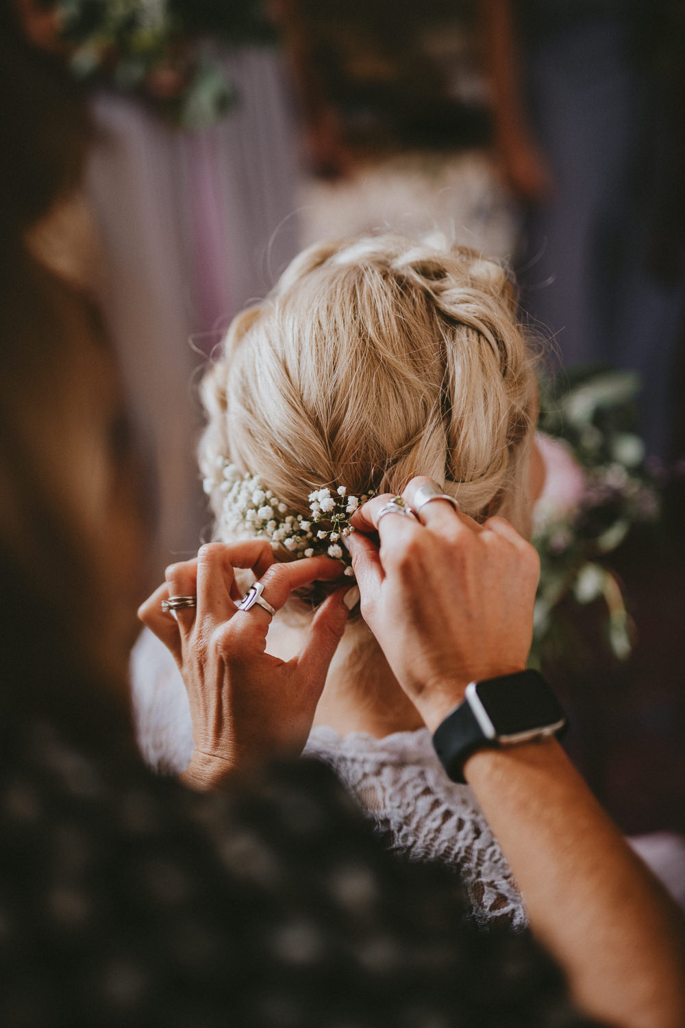 Bridesmaid Bridesmaids Hair Style Up Do Plaits Braids Flowers Chateau Lagorce Wedding Flawless Photography