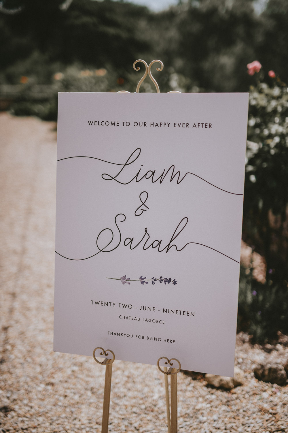 Welcome Sign Signs Signage Calligraphy Chateau Lagorce Wedding Flawless Photography