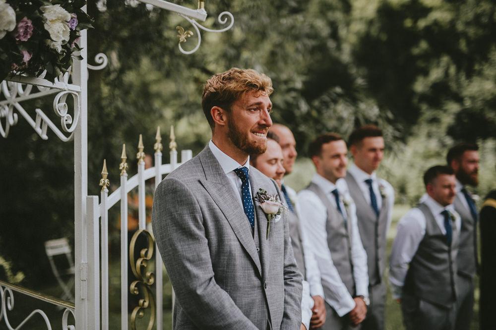 Groom Suit Grey Waistcoat Blue Polka Dot Tie Chateau Lagorce Wedding Flawless Photography