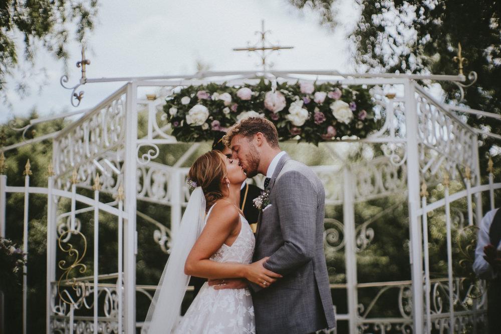 Ceremony Outdoor Garden Gazeebo Flowers Chateau Lagorce Wedding Flawless Photography